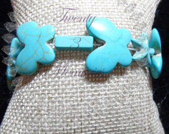 Turquoise Blue Shaded Beaded Stretch Bracelet Butterfly Starfish Small Toddler Baby Teen