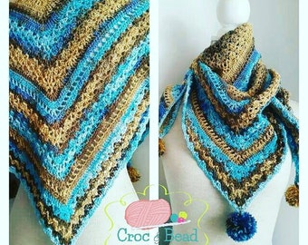 Crochet blue, brown triangle shawl, Scarf, neck warmer with pompoms in vibrant colours