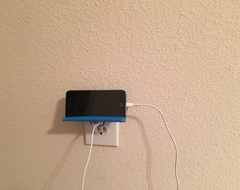 Wall outlet shelf for iPhone