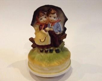 "Vintage Chadwick Miller Ceramic Boy & Girl Music Box with music ""Raindrops Keep Falling on My Head"""
