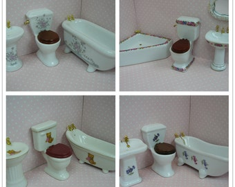 1:12 Dolls house porcelain bathroom set-3pcs