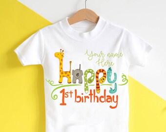 1st Birthday personalised Tshirt - Jungle animal birthday, happy birthday top, personalised top, elephant, giraffe, first birthday, gift