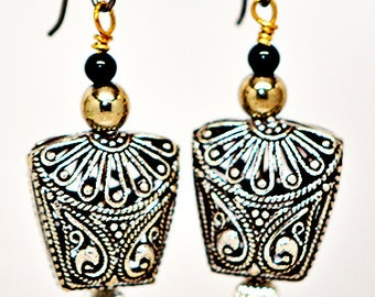 Antique Hematite and Black Onyx Earring