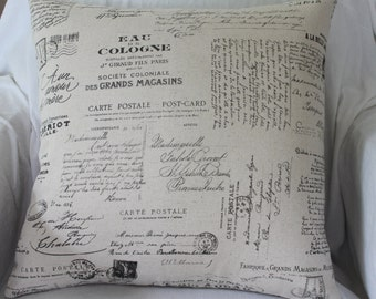 Cushion Cover - 'French Style Carte Postale'