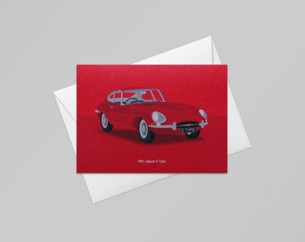 1961 Jaguar E Type Card (Bright Red) - Classic Car Card - Greetings Card - Birthday Card - Thank You Card - Card for Him - Dad Card