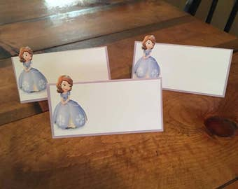 12 Sofia the First Place Food Tent Cards