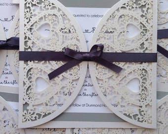 Lasercut heart love wedding invitations wedding stationery