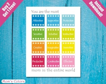 Colorful Mothers Day Love Card, Rainbow Mother's Day Card, Rainbow Mom's Card, Colorful Birthday Printable A2, You Are the Most Supportive