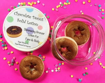 Chocolate Donut Solid Lotion - Bronzer Lotion - Shimmering Lotion - Lotion Stick - Lotion - Hand & Body Cream - Chocolate Donut Scented