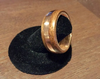 Copper and american walnut ring