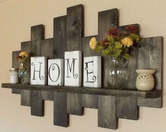 Rustic offset shelf; offset shelves, wooden shelves, shabby chic decor, rustic home decor, rustic country decor, farmhouse décor