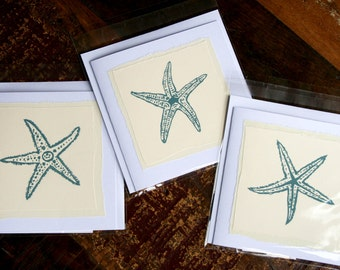 Hand-made cards with screen print starfish images