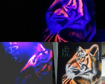 Neon UV acrylic tiger canvas painting glow in the dark