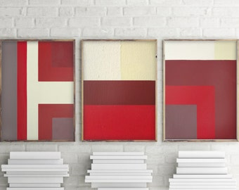 Red Mid Century Modern Color Block Abstract Painting Red Bedroom Red  Livingroom Art Red Dining