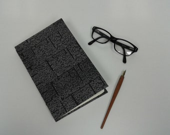 Handstitched Hardcover  Journal, Black Newsprint Style Cover, Coptic Stitch Binding