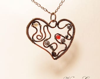 Heart  Pendant  Wire Wrapped