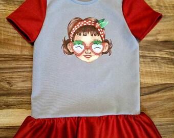 Girl Red Grey Summer Dress for the girl of 3, Knitting dress for a girl, dress on the girl of 3th