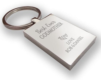 Personalised engraved Best Ever GODMOTHER keyring gift, chunky rectangle keyring - BE12