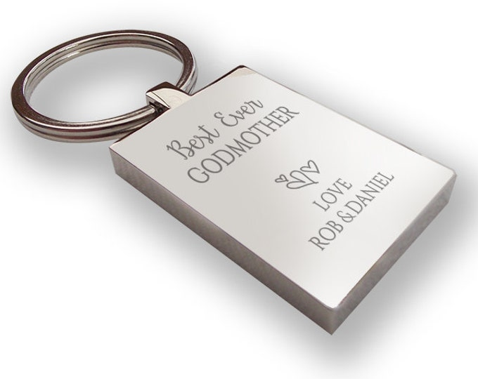 Personalised engraved Best Ever GODMOTHER keyring gift, chunky rectangle keyring - BE12