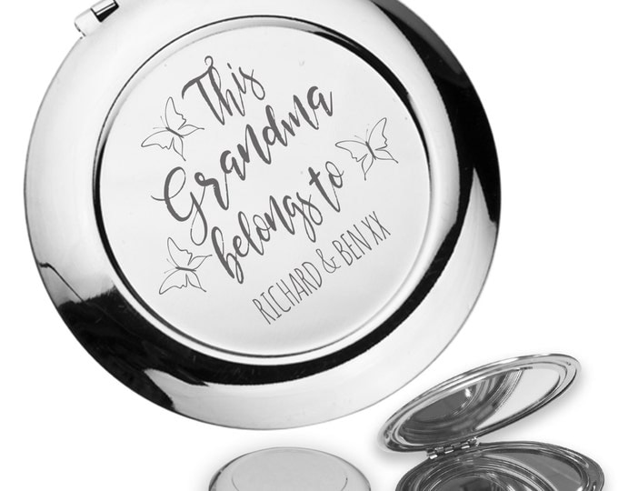Personalised engraved This GRANDMA, NAN, nanny belongs to compact mirror gift idea, handbag mirror - FM3