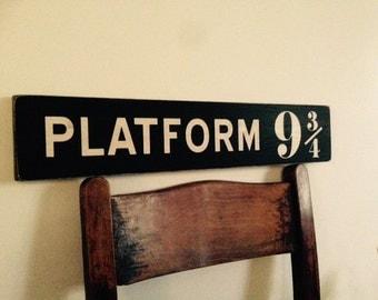 Platform 9 3/4 sign wood Harry Potter handmade vintage style plaque