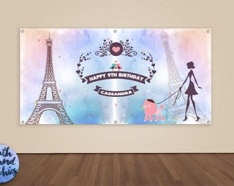 Paris Birthday Banner - Girls Paris Photo Backdrop - Watercolor Paris Happy Birthday Banner Sign - Girls Paris Birthday Vinyl Backdrop