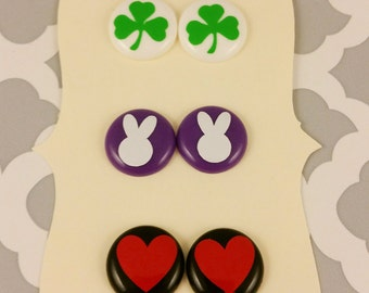 Holiday Earrings (Valentines Day, Easter, and St. Patricks Day)