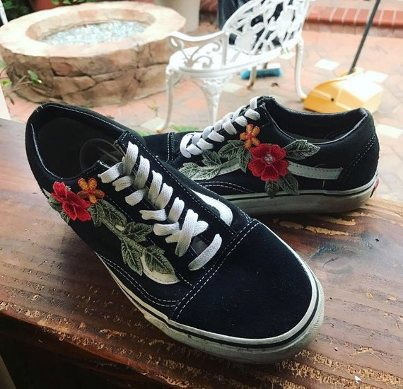 Vans black old skool w rose applique by flwrthreads on