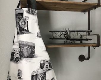 Toddler Apron, Fits 3-5 years old, Double Sided, Sketch Vintage Camera-Black and White