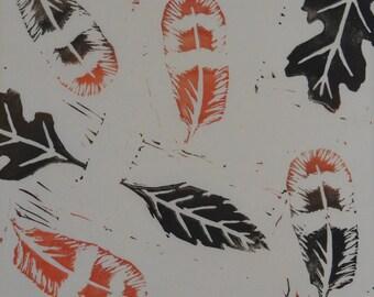 Print, Lino, Linocut, Black, Orange, Art Prints, Hand Printed, Botanical Print, Nature Art, Original Wall Pictures, Handmade, Leaf, Gift