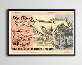 """1965 Ford Mustang 24"""" x 36"""" Full-Size POSTER! - Classic Cars - Vintage - Antiques - Custom Prints"""