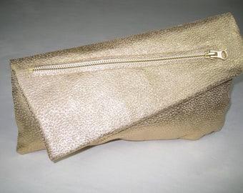 The Francesca, Gold distressed lambskin. Silk lining