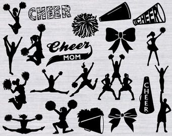 Cheerleading SVG Bundle, Cheer svg, cheer clipart, cheerleader svg,svg files for silhouette, cricut download, svg files, dxf, png, cut files