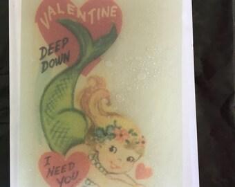 Vintage Valentines Mermaid Soap- Sweet Pea Scent