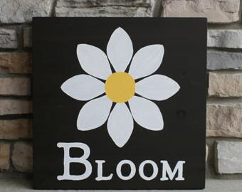 Bloom, Flower, Hand Painted, Hand Stained, Square, Wooden Sign