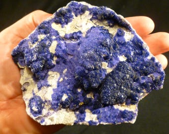 Beautiful Deep Blue Fluorite on White Matrix from the Huanggang Mine, Inner Mongolia
