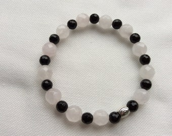 Rozequartz and Onyx faceted bracelet