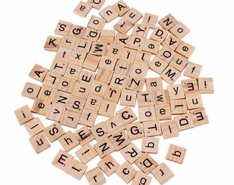 100 Pcs Wooden Scrabble Tiles