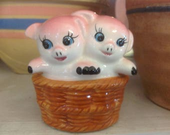 Vintage Norleans Two Pigs in a Basket Figurine