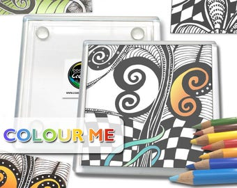 Colour Me Drink Coasters - Zentangle Art- Acrylic Coasters - Black and White - Coloring - Square Coasters - Unboxed Set of 4