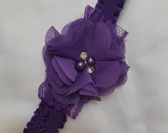 Simple deep purple lace and flower headband.  Shabby chic flower with pearls and rhinestones. Matching ruffled elastic.