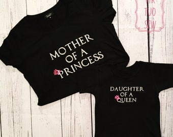Mother T-shirt from Matching Mother and Daughter or Mother and Som set. Mother of a Princess or Prince