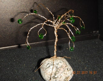 Twisted Wire Tree with Glass Beads