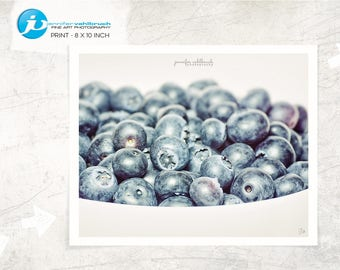 "Food Fine Art Photo, Food Wall Art, Kitchen Decor, Food Photography, Modern Food Photo, Minimal Food Photo - ""Blueberries in a bowl No. 4"""