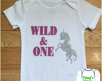 Custom Wild and one unicorn birthday Baby Onesie toddler shirt