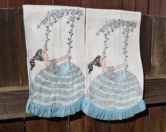 New Vintage Mid Century Girl on Swing Ruffle Linen Set of hand towels