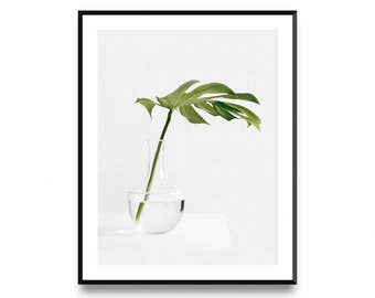 Monstera Leaf Print, Botanical Print, Leaf Art Print, Affiche Scandinave, Botanical Leaf Art, Monstera Print, Scandinavian Print, Leaf Print
