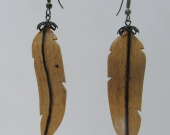 hand carved wood ear rings