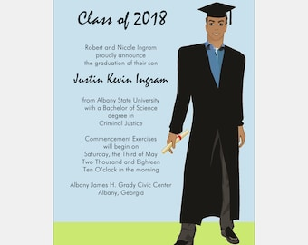 African American Graduation Announcement -Male Grad | African American Graduation Party | African American Party Invitation | HS Graduation