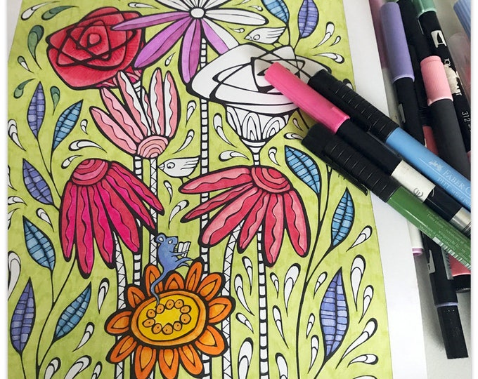 Featured listing image: Printable Floral Splashes Colouring Page
